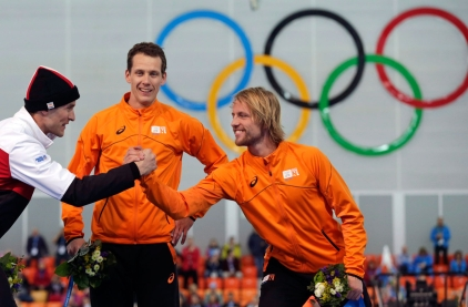 Denny Morrison spoils the Dutch party on the 1000m podium at Sochi.