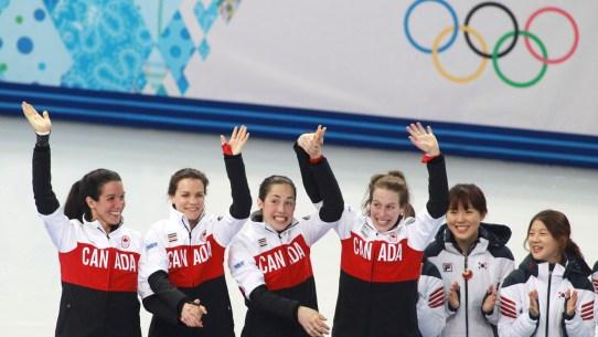 (L-R) Marie-Ève Drolet, Jessica Hewitt, Valérie Maltais, Marianne St-Gelais.