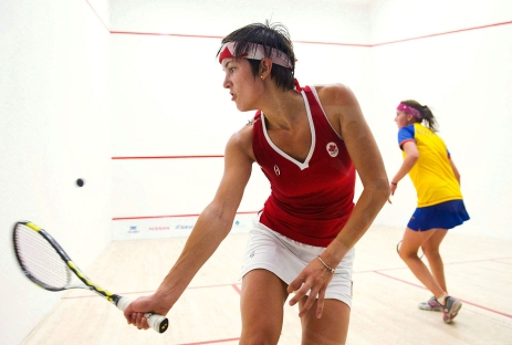 Samantha Cornett, left, battles against Colombia's Catalina Pelaez, right, for the gold medal in women's team squash during the 2011 Pan American Games