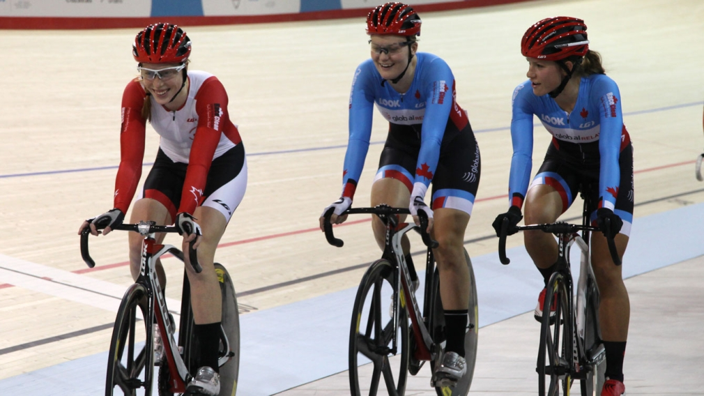Allison and two others race in Milton Velodrome