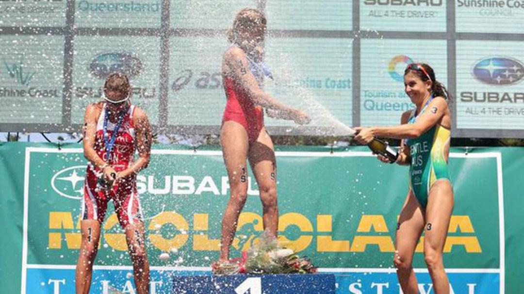 Amelie Kretz celebrating on the podium
