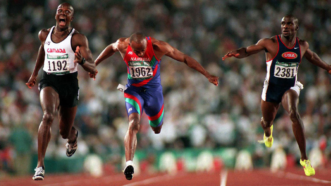 Perhaps the most iconic Canadian Olympic moment in history, Donovan Bailey becomes the world's fastest man and 100m World Record holder.