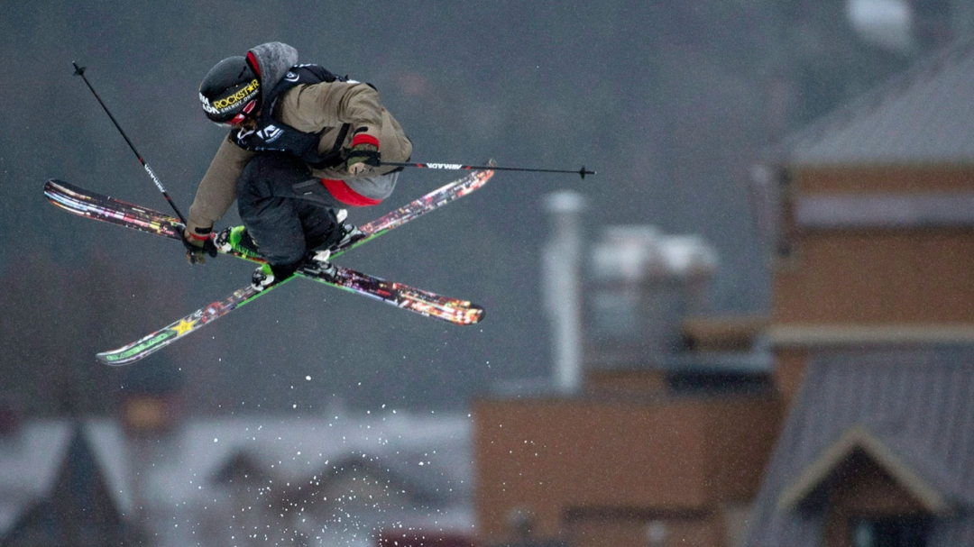 Skier executing trick in the air