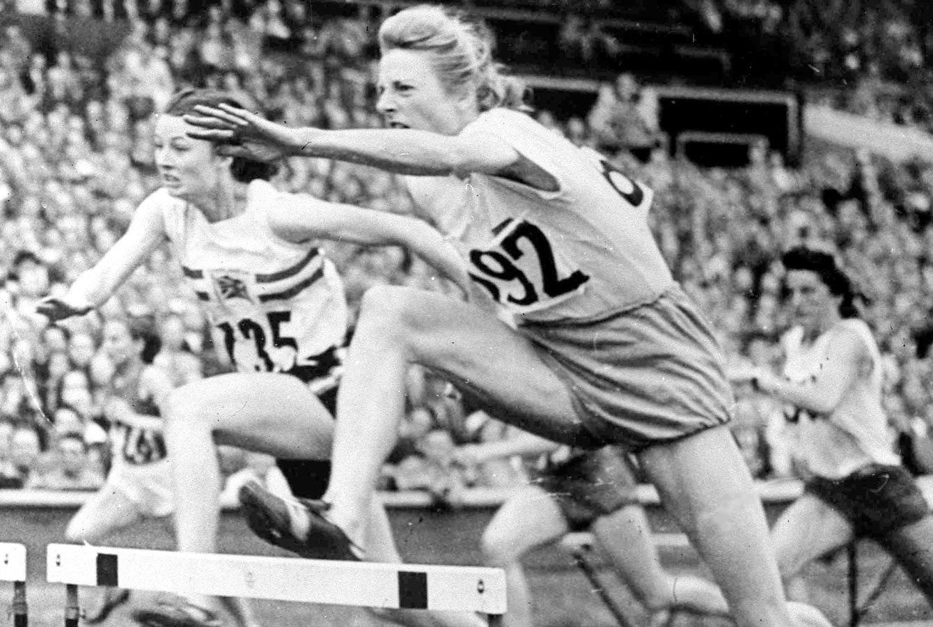 Fanny Blankers-Koen leaps her way to an 80m hurdles Olympic gold medal at London 1948.