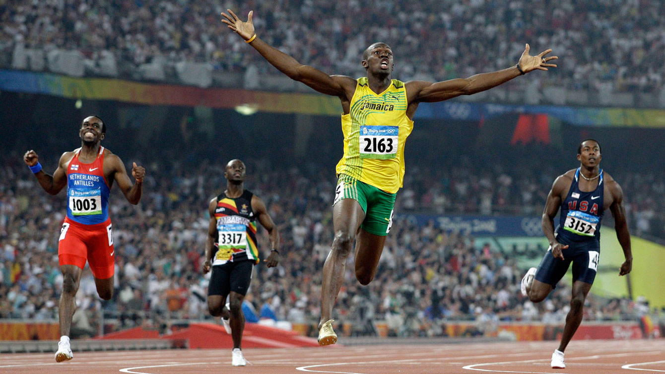 Usain Bolt completes the 100m/200m double at the Bird's Nest in Beijing in World Record time of 19.30 seconds, a mark he lowered a year later to an incredible 19.19 at the World Championships in Berlin.