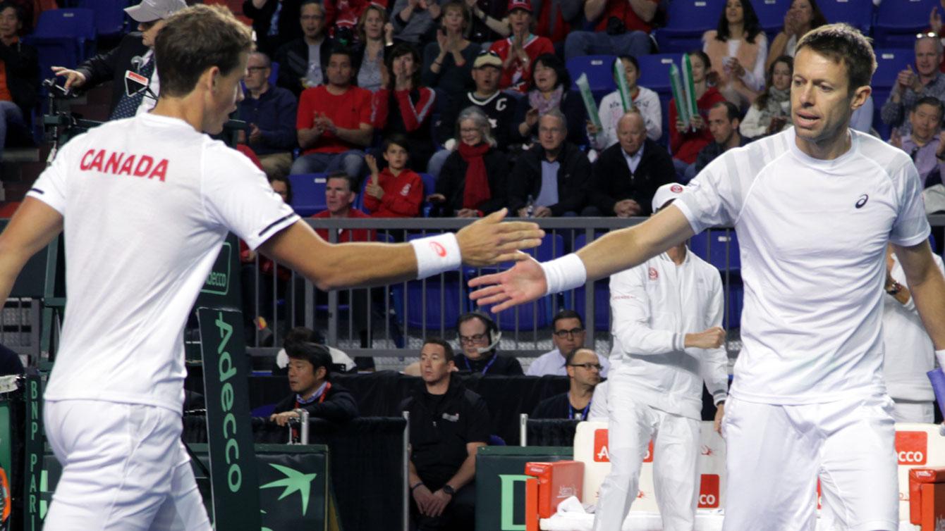 Pospisil and Nestor at 2015 Davis Cup first round tie versus Japan.