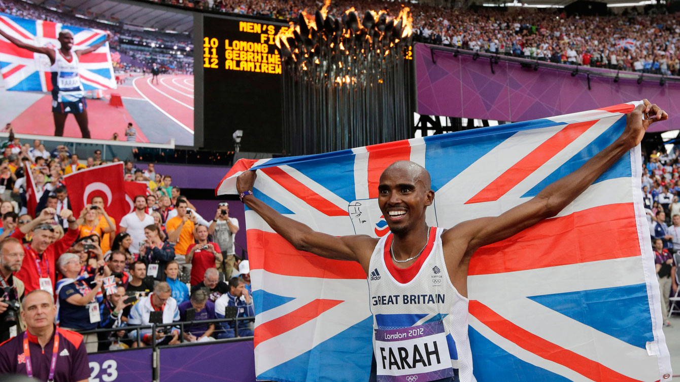 Mo Farah after winning gold in the 5000m at London 2012.