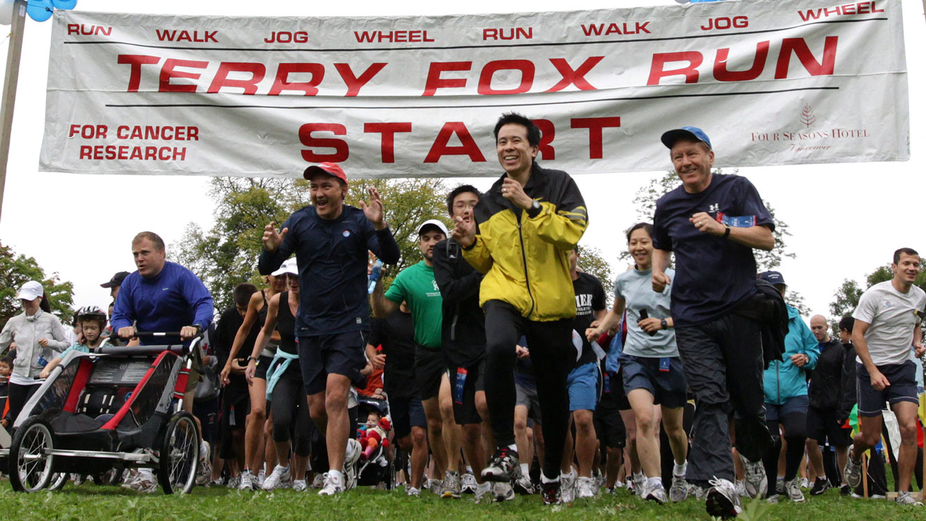 In photo: a 2010 Terry Fox Run in Vancouver. Terry Fox Foundation donated $14.6 million to cancer research in 2014. The organization donates 84 cents of every dollar raised to cancer research for advancements in battling the disease.