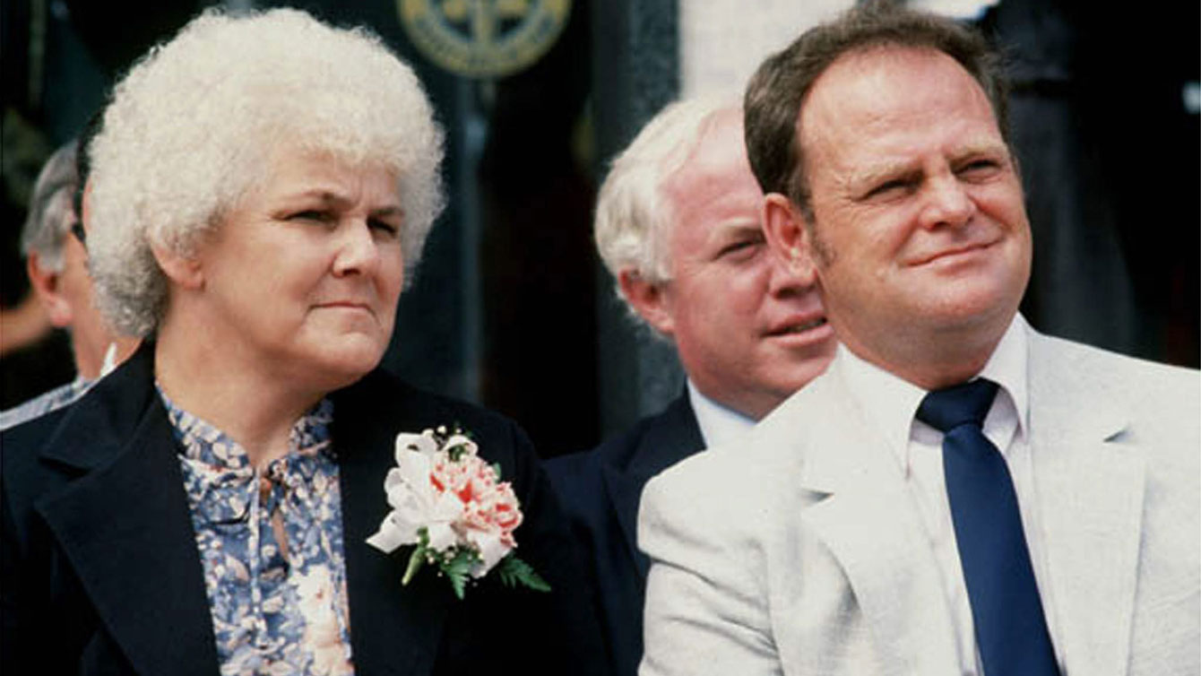 Betty and Rolland Fox at their son Terry's posthumous Canadian Sports Hall of Fame induction in 1981. Betty Fox became the family spokesperson and a leading figure in the Terry Fox Foundation as it became independent to pursue her son's wishes.