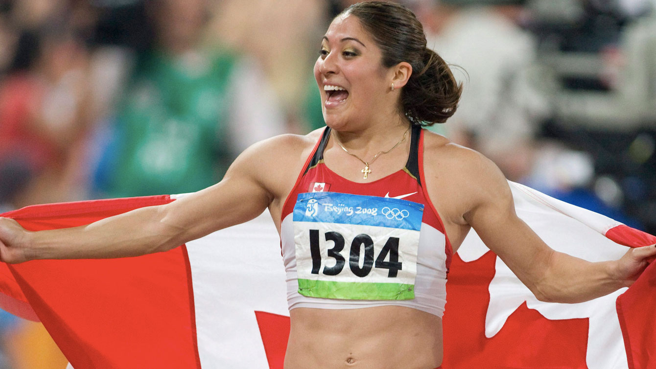 Priscilla Lopes-Schliep celebrates her 100m hurdles bronze at Beijing 2008.