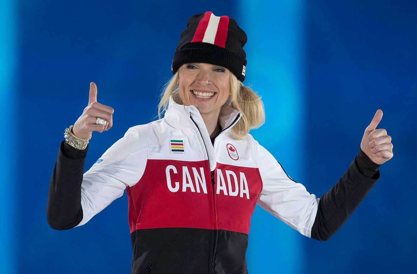 Dominique Maltais at the victory ceremony, Sochi 2014