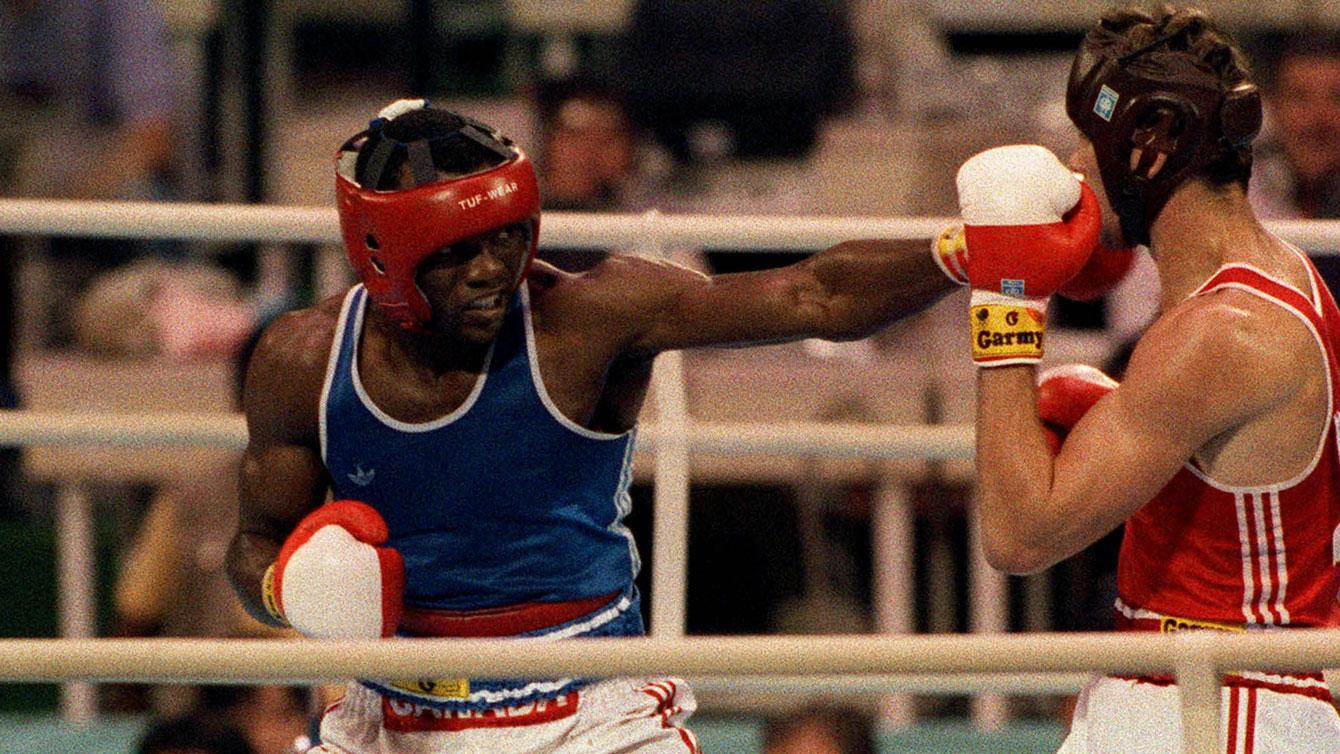 Egerton Marcus throws a jab at Seoul 1988.