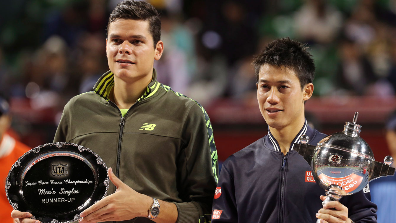 Raonic (left) and Nishikori after the latter won the Japan Open in 2014.
