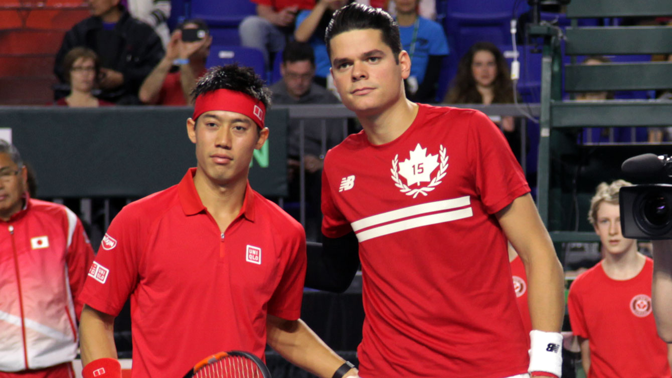 Kei Nishikori (left) and Milos Raonic prior to 2015 Davis Cup match in Vancouver.