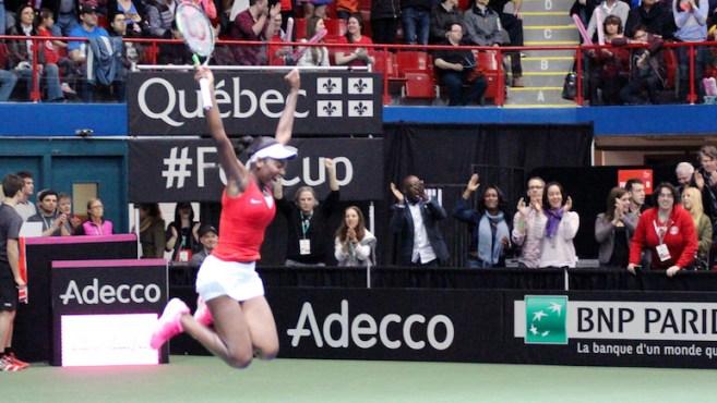 Francoise Abanda celebrates