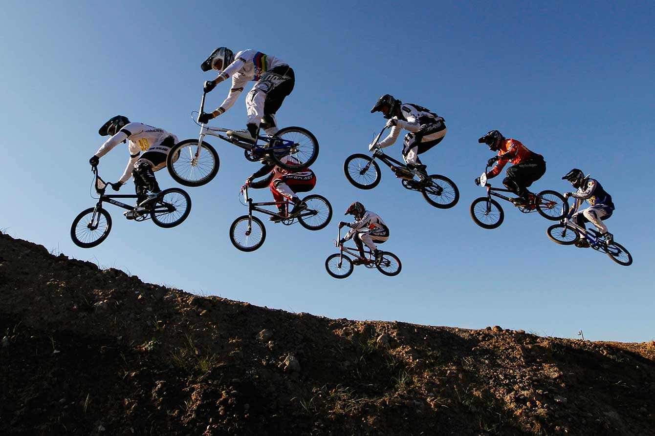 Riders take a jump at Olympic Park's BMX Track in London, during a Supercross event in 2011.