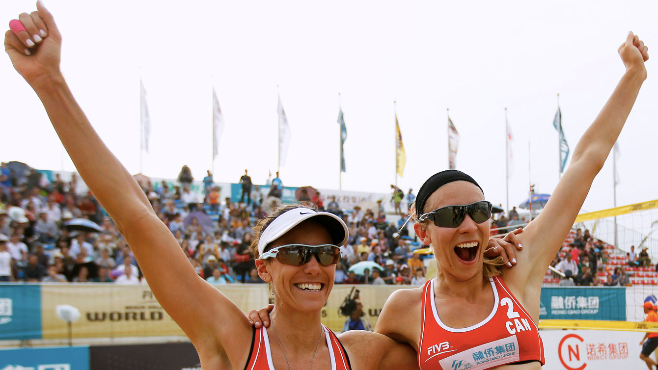 Jamie Broder and Kristina Valjas after winning FIVB gold in China on April 26, 2015.