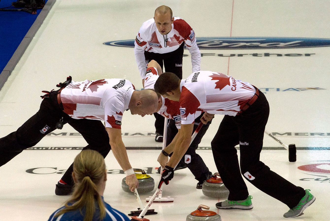 Team Canada in round robin action against Sweden at the 2015 World Men's Championship in Halifax.