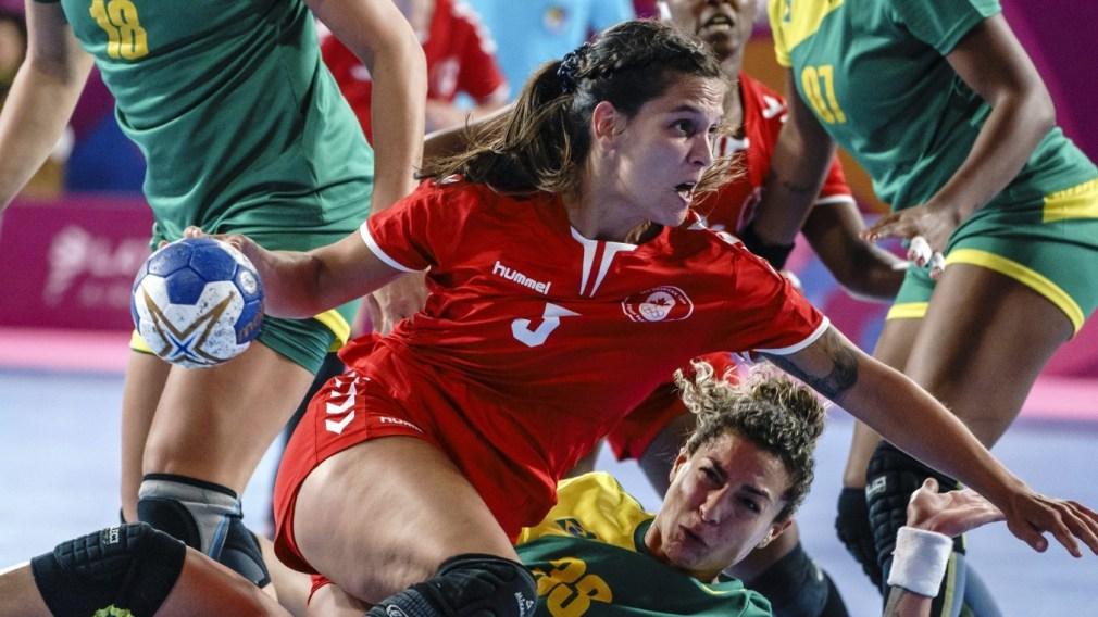 Myriam Laplante of Team Canada battles against Brazil