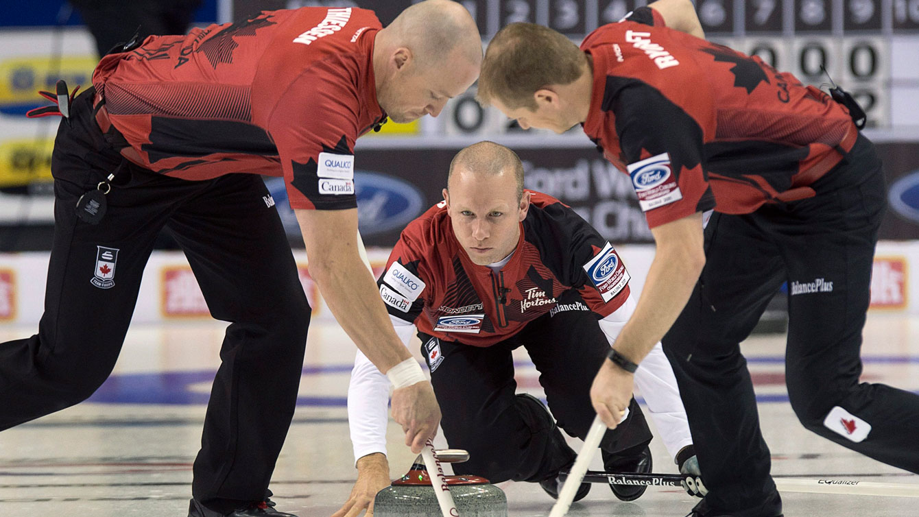 Pat Simmons in action at the 2015 curling men's World Championship in Halifax.