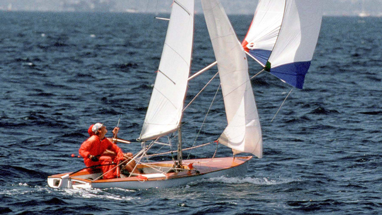 Terry McLaughlin and Evert Bastet on their way to winning Los Angeles 1984 silver in sailing.