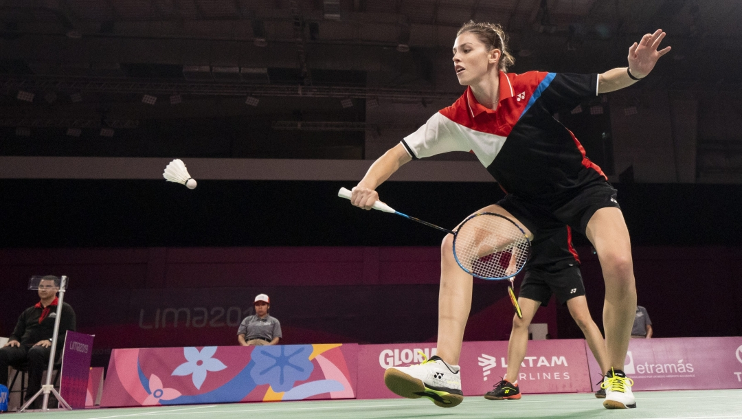 Rachel Honderich and Kristen Tsai take the gold medal in women's doubles badminton at the Lima 2019 Pan American Games on August 2, 2019.