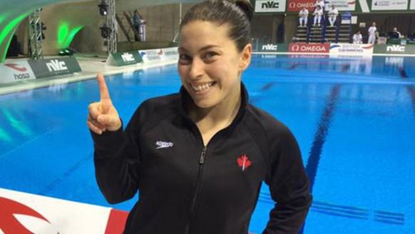Roseline Filion at London's Diving World Series, where she won gold in 10m platform.