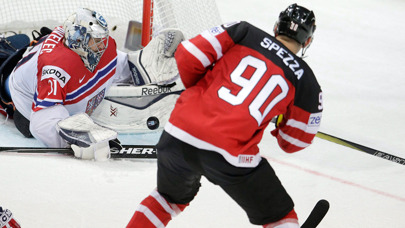 Canada's Jason Spezza releases a shot earlier in the tournament.