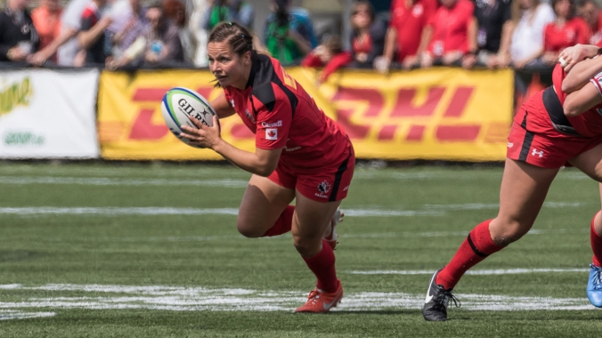 Ashley Steacy in action at 2015 Canada Sevens (Photo: Lorne Collicutt/Rugby Canada).