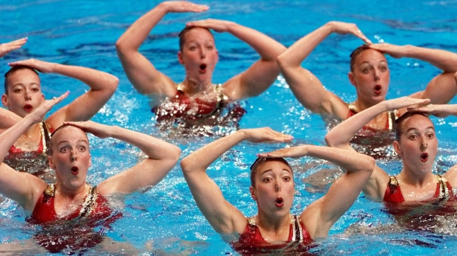 The Olympic bronze medallists performing their technical routine in Sydney,  2000.