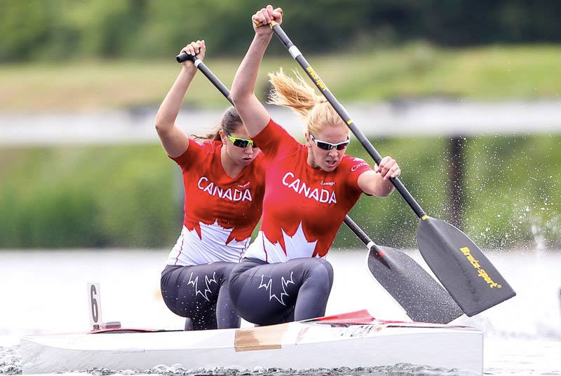 Laurence Vincent-Lapointe and Katie Vincent in the C2 Women 200m at ICF Sprint World Cup in Duisburg, Germany, May 23, 2015 (Photo: Balint Vekassy/ICF).
