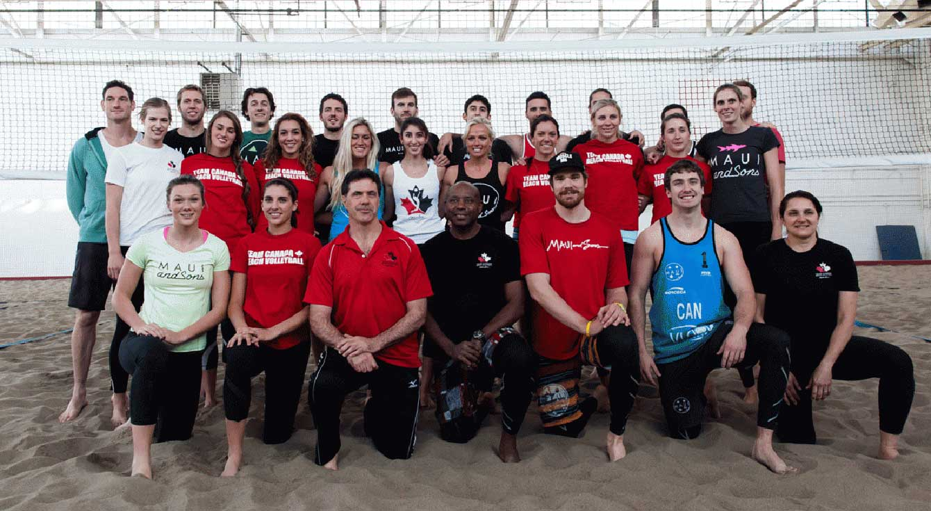 Canada's beach volleyball national team, Ed Drakich (front row centre left), Steve Anderson (front row centre right).