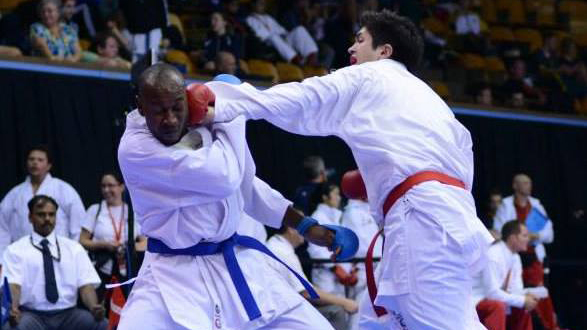 Chris De Sousa Costa, in Finals of the 2013 Commonwealth Karate Championships. (Photo by: Karate Canada)