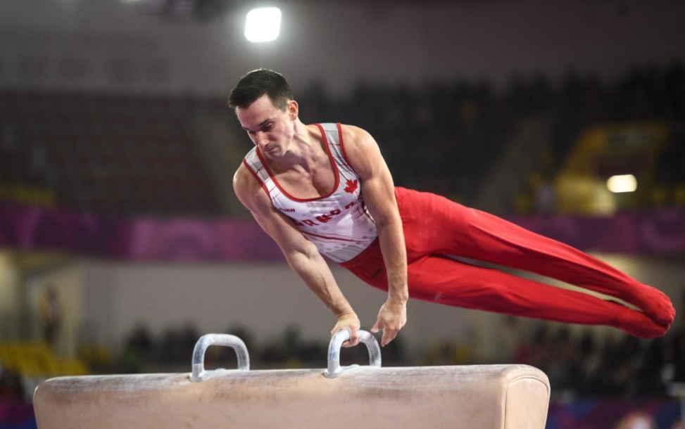 Zachary Clay of Canada competes in mens artistic gymnastics