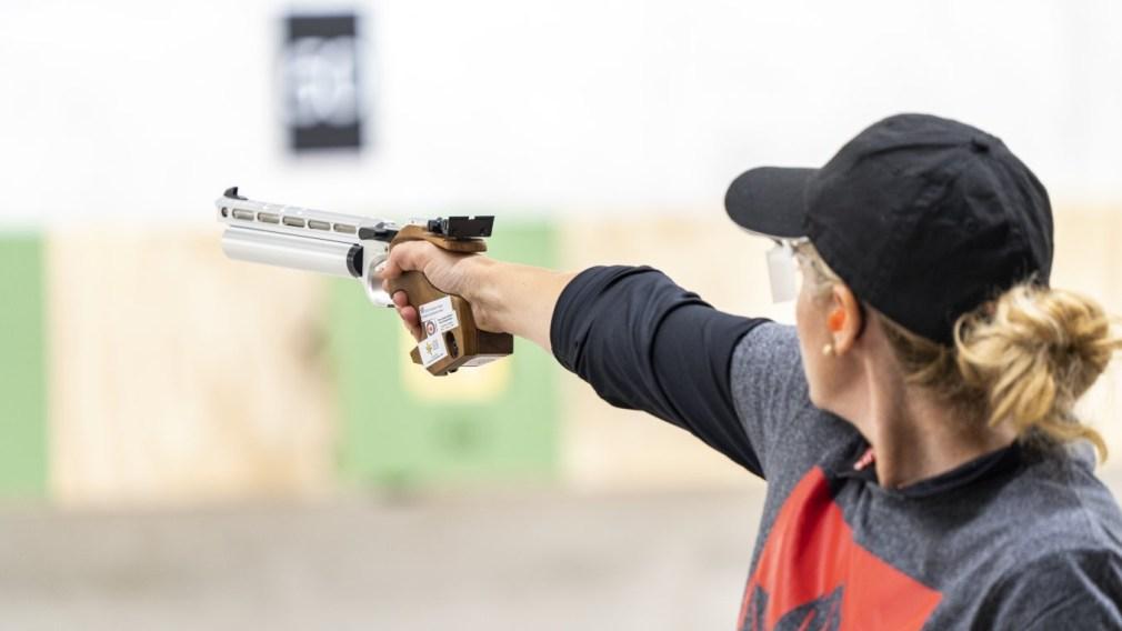 Yanka Vasileva competes in women's 10m air pistol shooting