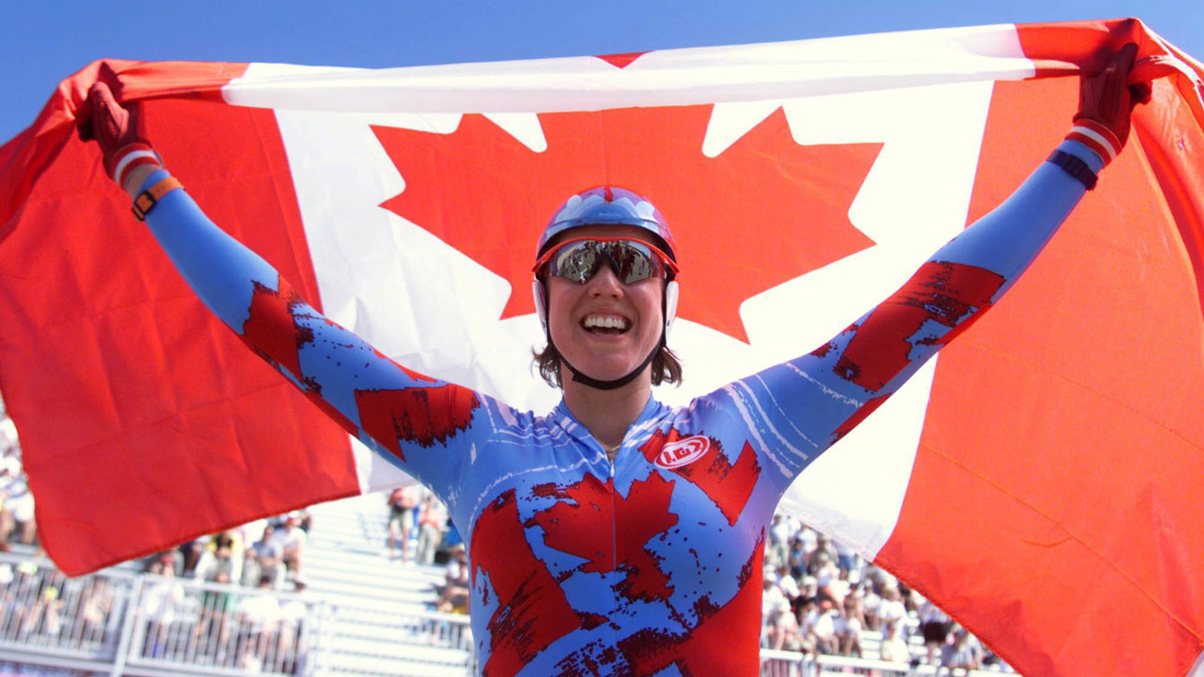 Tanya Dubnicoff celebrates her Pan Am Gold in the time trial at Winnipeg 1999.