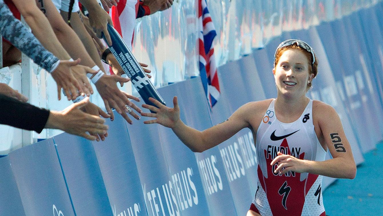 Paula Findlay at the ITU World Triathlon Grand Final in Edmonton on August 30, 2014.