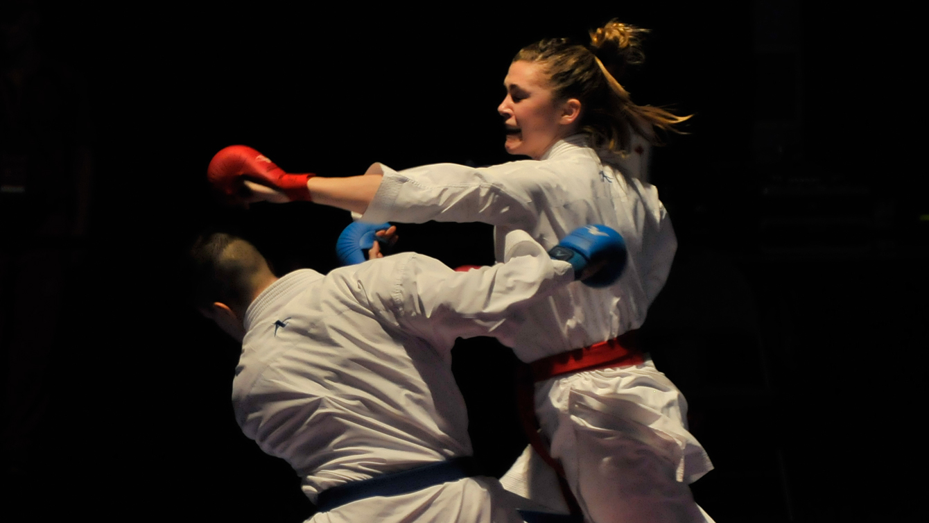 Kate Campbell, in Finals of the 2013 Commonwealth Karate Championships. (Photo by Karate Canada)