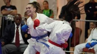 Karate athletes fighting
