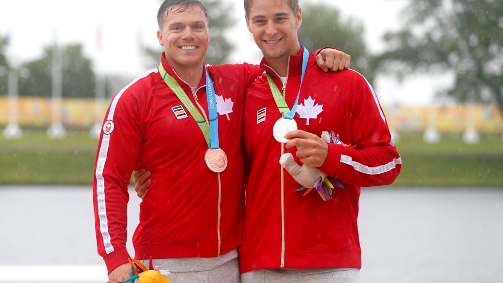 Canada's Mark De Jonge and Pierre-Luc Poulin tied Brazil for Bronze in the K2 200M at the Pan Am Games in Toronto