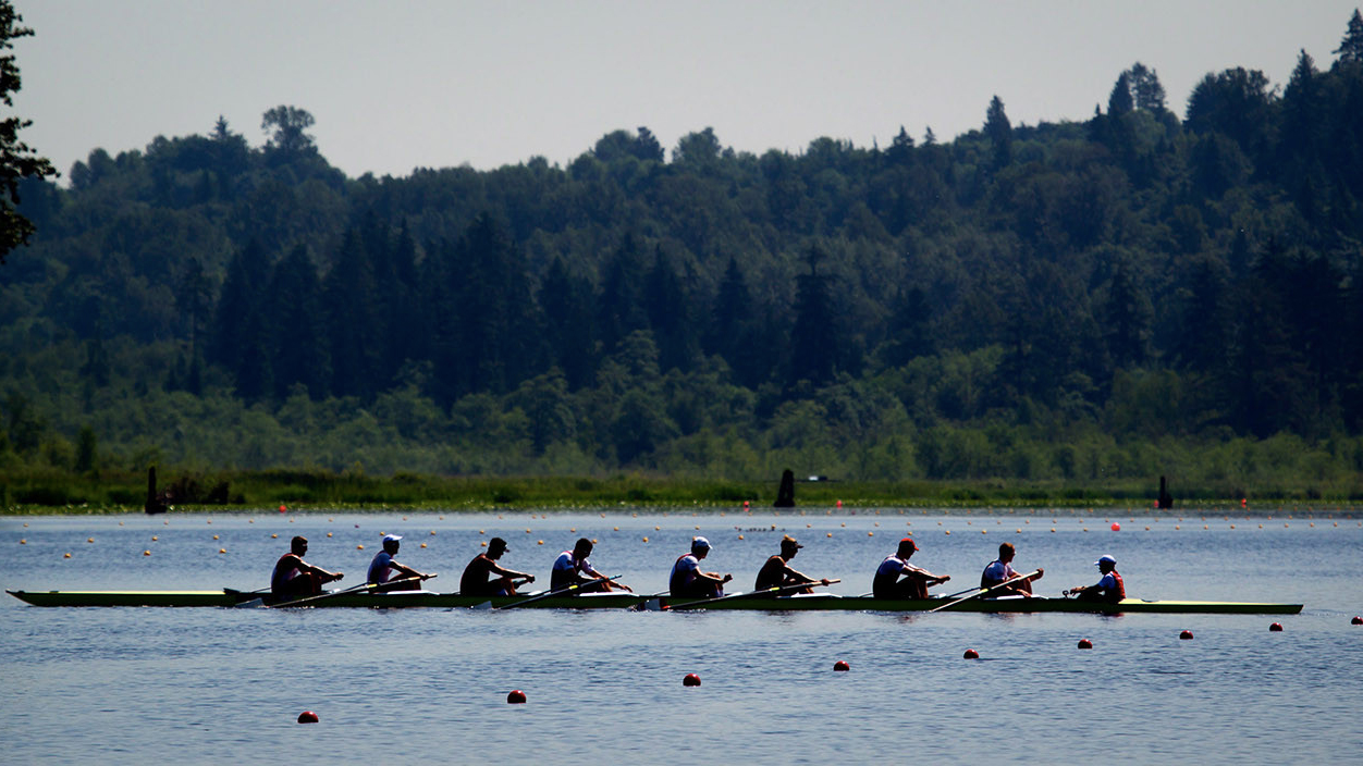 Brian Price (right) on the London 2012-bound eights boat in Burnaby B.C. on July 5, 2012. (The Canadian Press/Darryl Dyck)