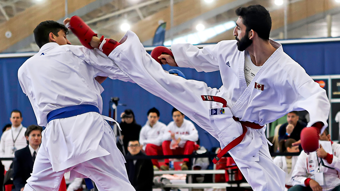 Sarmen Sinani, at the 2014 North American Cup (Photo by: Karate Canada).