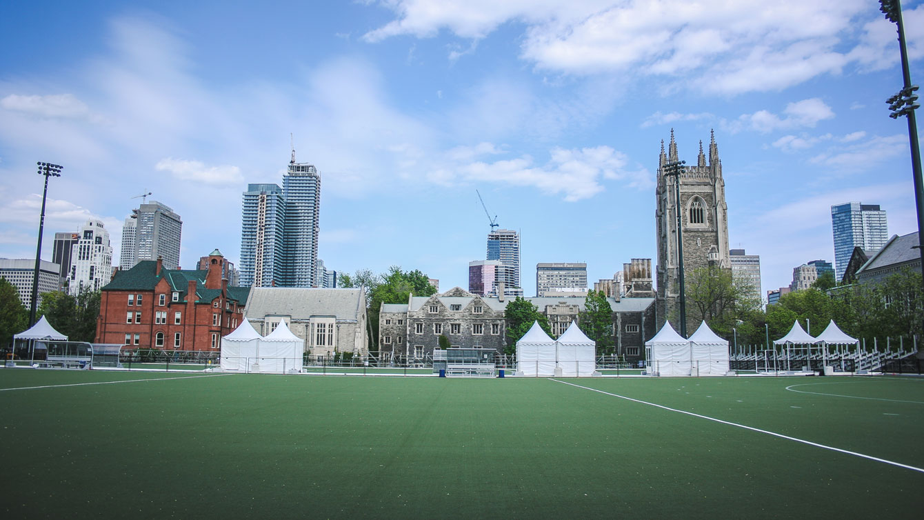 The Pan Am Fields at the St. George Campus of the University of Toronto.