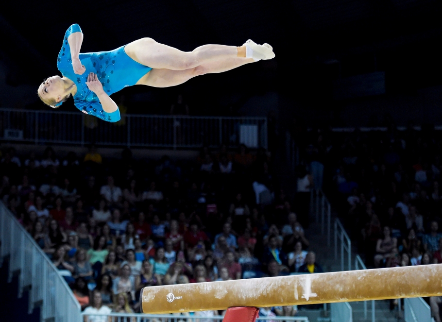 Canada's Ellie Black competes in the balance beam at the women's artistic all around gymnastics competition during the Pan American Games in Toronto on Monday, July 13, 2015. Black won gold. THE CANADIAN PRESS/Nathan Denette