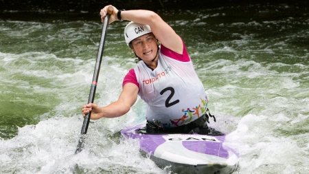 Canada's Haley Daniels runs the Minden white water course in a qualifying round on Saturday, July 18, 2015. She will paddle for gold in the Women's Solo Canoe Slalom category finals.