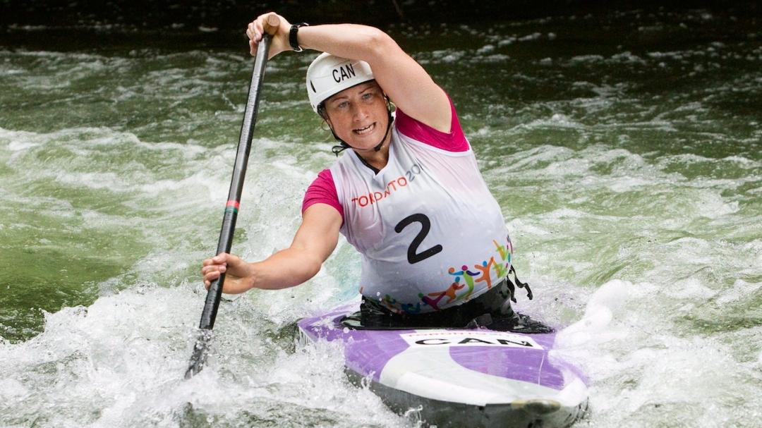 Haley Daniels paddles in canoe slalom