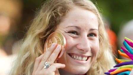 Canada's Haley Daniels with her bronze medal after placing third in the Women's final of the Canoe (C1) event at the Minden White Water Preserve.