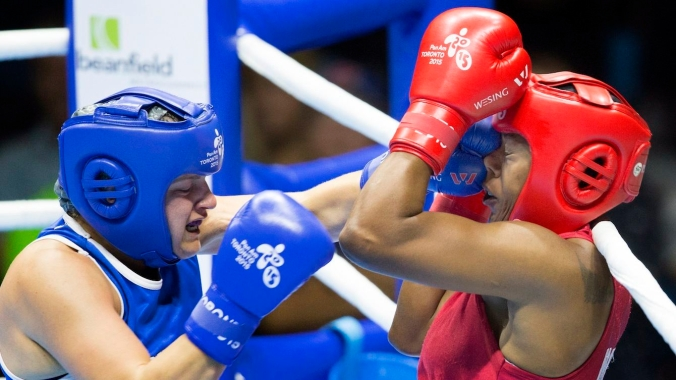 Ariane Fortin during the middle weight women's quarter finals in boxing at the Pan American Games