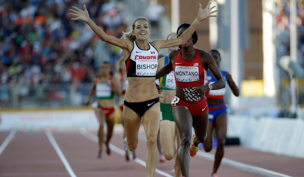 Melissa Bishop celebrates as she won the gold medal in the women's 800 meter race at the Pan Am Games