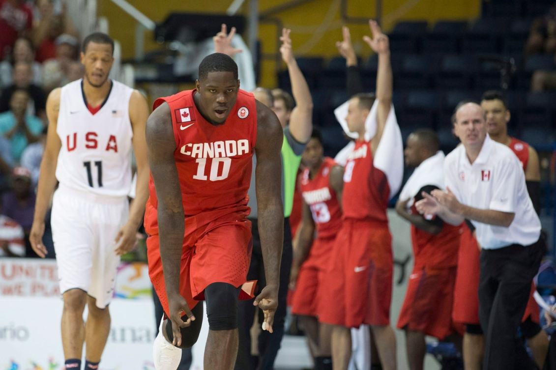Anthony Bennett celebrates a basket in Canada's overtime upset of the USA in the TO2015 men's basketball semifinals on July 24.